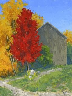 """Autumn Barn"" by David King. This painting of a rural autumn scene is based on a photo I took in Peterson, Utah last year.  I really liked the contrast of the bright red tree against the yellow-orange aspens framing the old wood barn. This painting was done mostly with a palette knife.  #davidkingstudio art, impressionism, landscape"