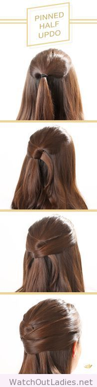 To get this beautiful pinned half updo, follow this step-by-step hair tutorial