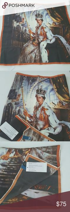 """Queen Elizabeth II Coronation Silk Scarf NWT 100% silk and hand rolled Royal family  souvenirs scarf from V&A  June 2 1953 when Elizabeth II become monarch of the United Kingdom.  Measurements are 19"""" x 19,5""""  This scarf was produced for Diamond Jubilee. Queen Elizabeth II Coronation  Accessories Scarves & Wraps"""