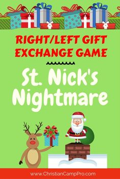 Left/Right Gift Game - Saint Nick's Nightmare - Christian Camp Pro - Affiliate Disclosure: I receive a small commission for purchases made via affiliate links. Christmas Gift Exchange Games, Funny Christmas Games, Christmas Games For Adults, Christmas Games For Family, Xmas Games, Christmas Poems, Christmas Party Games, A Christmas Story, Christmas Humor