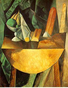"""Pablo Picasso, """"Bread and Fruit Dish on a Table (Pains et compotier aux fruits sur une table),"""" 1909, oil on canvas"""