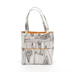 LARGE Wood orange Birds Beach Tote Handbag by YMFHandbags on Etsy, $75.00