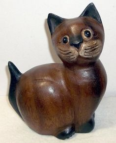Vintage Wood Carved Sitting Kitty Cat Figurine | eBay