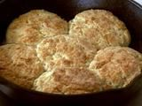 Pioneer Woman's Biscuits Recipe -- use non-dairy milk, vegan margarine, and vegan buttermilk (non-dairy milk/cream + apple cider vinegar)