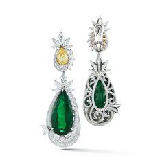 Emerald Earring Pear Shape with Fancy Yellow Diamond   From a unique collection of vintage dangle earrings at https://www.1stdibs.com/jewelry/earrings/dangle-earrings/