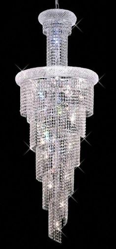 "22""D Spiral Small Foyer Crystal Chandelier Light Fixture 60"" Tall 22 Lts Chrome"