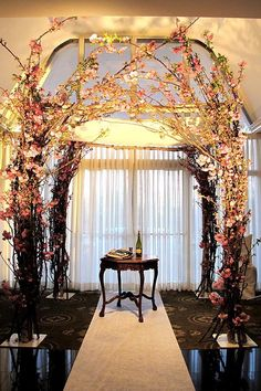 Chuppah- but with green or purple flowers...