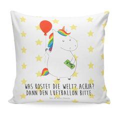 Kissen 40x40 Einhorn Luftballon aus Soft-Feel Kissenbezug  Flauschig - Das Original von Mr. & Mrs. Panda.  Ein wunderschönes kuscheliges Kissen von Mr. & Mrs. Panda mit wunderbar weicher entnehmbarer Füllung  - liebevoll bedruckt, verpackt und verschickt aus unserer Manufaktur im Herzen Norddeutschlands. Das Kissen hat einen Reißverschluss zum Entnehmen der Füllung und die Größe von 40x40 cm.    Über unser Motiv Einhorn Luftballon  Ein Einhorn Edition ist eine ganz besonders liebevolle und…