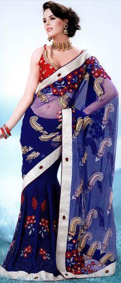 Royal Blue Net Lehenga Style Saree With Blouse @ $194.16 | Shop @ http://www.utsavfashion.com/store/sarees-large.aspx?icode=ssx3634a