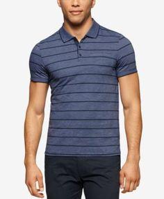 9fb4562391 Calvin Klein Men s Fairway Striped Liquid-Cotton Polo   Reviews - Polos -  Men - Macy s