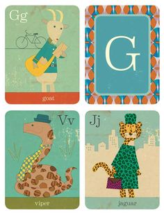 Junzo Terada Flashcards: Animal Fun from A to Z.  vintage look