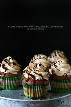 These stout cupcakes with whiskey buttercream are fluffy, moist and full of boozy flavor. Perfect for St. Patrick& Day or any other day of the week. Best Dessert Recipes, Cupcake Recipes, Fun Desserts, Baking Recipes, Delicious Desserts, Cupcake Ideas, Baking Cupcakes, Cupcake Cakes, Mini Cakes