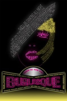 Burlesque typography by Latefanya. Very appealing neon letters. looks super modern and like that dance club would be a lot of fun! Latefanya posted this on DeviantArt but real name is unknown. #mystery