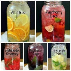 1) lemon/cucumber/chopped basil/mint 2) Strawberry/Lime or Raspberry/Lime/mint 3)Fennel/citrus: infuse 1- 3g of dried and crushed fennel in 150 ml of boiling water for 5-10 min. Mix water + lemon juice + an orange + 12 mint leaves + fennel infusion. 4) Antiox: Blackberry/ 3-4 Sage leaves. 5) watermelon/Rosemary 6) Pineapple/Mint 7) Apple/cinnamon: 2 cinn. sticks + 2 tsp ground cinn.