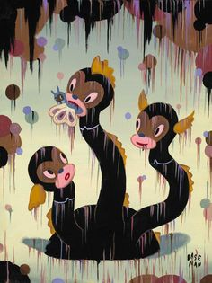 """Gary Baseman's """"Ooga"""" dragons, from his show """"The Sacrificing of the Cake"""". Interesting story about his inspirations on this link."""