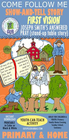 FIRST VISION: LDS Lesson Activity - The First Vision presentation, give a family home evening on Joseph Smith's First Vision, prayer - Gospel Grab Bag Primary Activities, Primary Lessons, Activity Day Girls, Activity Days, Family Home Evening, Home And Family, Joseph Smith History, Follow The Prophet, Walk In The Spirit
