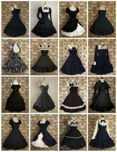 Different types of black dresses