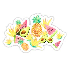 """""""Tropical Fruit Salad"""" Stickers by amayabrydon Tropical Fruit Salad, Framed Prints, Canvas Prints, Tropical Pattern, Wall Tapestry, Decorative Throw Pillows, Iphone Cases, Stickers, T Shirts For Women"""