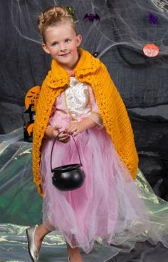Wrap your precious royalty in safety this holloween with Cape For a Princess made with Red Heart Reflective Yarn!