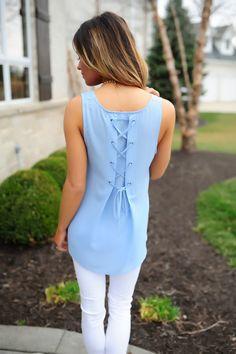 Blue Lace Up Back Tank - Dottie Couture Boutique