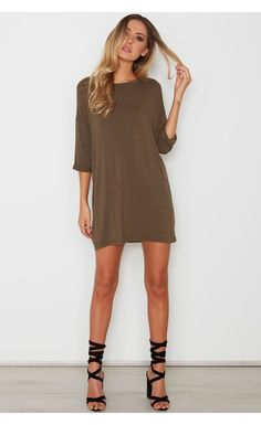Loyal Tee Dress Khaki - Tops - Clothing