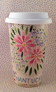 Groovy travel mugs with silicone lids.  Microwavable - Nantucket Mermaid