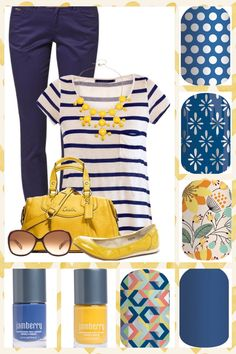 Spring Summer Blue & White Polka, Denim Chic, Sweet Whimsy, Lakeside, and Abstract DIY Nail Wraps. If you prefer a Nail Lacquer - Blue Suede Shoes or Fool's Gold may be what you are looking for! Jamberry Combos, Jamberry Nail Wraps, Nautical Nail Art, Anchor Nails, Yellow Nails Design, Jamberry Outfits, Jamberry Style, Blue Nails, Blue Suede