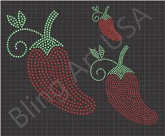 Chili Pepper Rhinestone Download Files Peppers Template Red Chili Pepper Pattern Bling SVG PLT EPS PDF Dried Peppers System Easy Sticky Flock Color