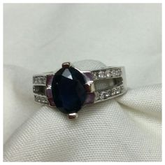 "40% BUNDLE DISCOUNT! FREE SHIPPING ON BUNDLES! Sapphire n Diamonds set in 14k White Gold, approximate size 5, plenty of white gold for jeweler to resize if necessary. Deep sapphire color, shiny diamonds and sparkly white gold!  ADD TO A BUNDLE! 40% BUNDLE DISCOUNT! FREE SHIPPING ON BUNDLES!! ""OFFER"" $6 LESS ON BUNDLES! Price firm unless Bundled. Only accepting ""offers"" of $6 less on Bundles for shipping reimbursement. (This ships to Posh HQ for authentication, Posh ships to buyer) Jewelry…"
