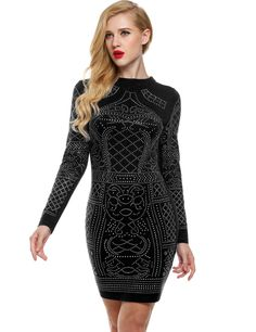 Dark blue Geometric Retro Rhinestone O-neck Bodycon Casual Dress
