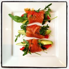 Smoked Salmon, Avocado and Roast Pepper Roll Ups...