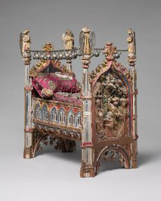 Crib of the Infant Jesus, ca. 1400–1500. South Netherlandish. The Metropolitan Museum of Art, New York. Gift of Ruth Blumka, in memory of Leopold Blumka, 1974 (1974.121a–d) | Miniature cradles for the Christ Child were popular devotional objects in the fifteenth and sixteenth centuries. #OneMetManyWorlds