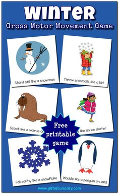 Winter Gross Motor Movement Game | Winter indoor activity | Rainy days | Snowy days | Movement break for kids | Free printable || Gift of Curiosity