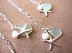 Seafoam beachglass starfish necklace with fresh water pearl