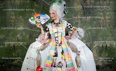 Disfraz de Maria Antonieta hecho con envases via http://www.ronniearias.com