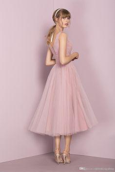 cb006a2eccc4 Tea Length Bridesmaid Dresses Country Beach A Line V Neck Straps Zipper  Pleats Tulle Vintage Blush