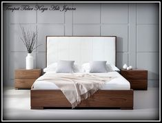Bella Natural Walnut Bed with Faux-leather headboard. The natural walnut veneer frame provides a contrast to the headboard of this beautifully modern bed. Bedroom Bed Design, Bedroom Furniture Design, Bed Furniture, Bedroom Designs, Bedroom Ideas, Furniture Stores, Furniture Dolly, Furniture Movers, Bedroom Inspiration