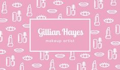 Pink with White Icons Pattern Makeup Artist Business Card