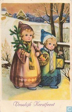 Ansichtkaart - Wenskaart: Kerst & Nieuwjaar - Kerstkaart 1927