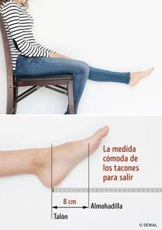 La medida máxima de los tacones para salir.Medida máxima de los tacones cómodos para salir: Siéntate en una silla y estira una pierna hacia adelante. Relaja el pie, no estires los dedos. Mide la distancia entre el talón y la almohadilla del pie (como se muestra en la imagen). Esta medida indica la inclinación natural de tu pie y la medida ideal para tus zapatos de fiesta. Para la mayoría de las mujeres la medida máxima de los tacones para salir está entre 7 y 9 cm.