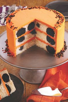 go for a more subtle halloween celebration with this orange and black polka
