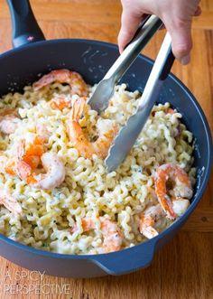 Love this Roasted Shrimp Pasta with Lemon Cream Sauce on ASpicyPerspective.com #pasta #skinny #shrimp