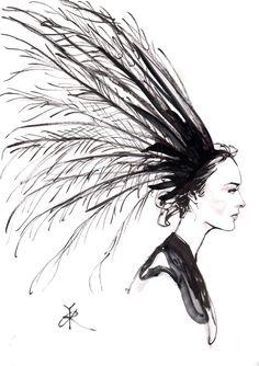 Fashion illustration of a feather headdress by Louis Vuitton S/S 2015 // Regina Yazdi