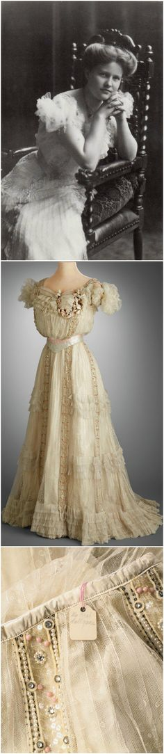 """Sweet Sixteen Evening Dress, by Baker, Washington D.C., 1903. Hillwood Estate, Museum & Gardens. Worn by Marjorie Merriweather Post for her presentation to society at age 16. Tag attached to inside of skirt at waist, with inscription in MMP's handwriting: """"My first ballgown."""" White spotted tulle, ivory silk taffeta, cream silk velvet, coral beads, clear rhinestones. Black-and-white photo courtesy of Hillwood Estate on Facebook."""