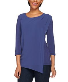 This Broadway Blue Chiffon Asymmetrical Keyhole Top - Plus Too is perfect! #zulilyfinds
