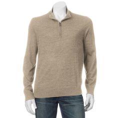 Big & Tall Apt. 9® Modern-Fit Merino Wool-Blend Quarter-Zip Sweater, Men's, Size: Xl Tall, Med Beige