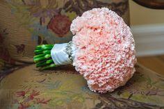 carnation bouquet beautiful round soft pink/ central florida wedding flowers/ www.callaraesfloralevents.com
