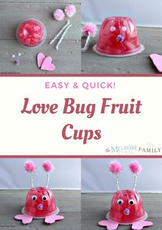These are great Valentines day ideas for kids and a great alternative to candy crafts.  Plus, it's a craft that the kids can get involved in, minus the hot gluing part of course. Strawberry Swirl Cheesecake, Strawberry Desserts, Easy No Bake Desserts, Dessert Recipes, Appetizer Recipes, Delicious Desserts, Great Valentines Day Ideas, Have A Snickers, Trifle Pudding