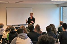 Tammy speaks to a group of UW-Stevens Point students