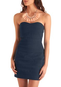 Sip of Syrah Dress - Blue, Solid, Party, Casual, Strapless, Short